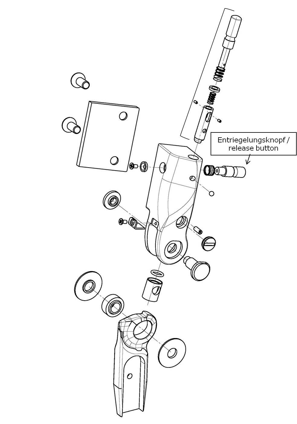Entriegelungsknopf für das Salera preselect 3-D Hüftgelenk