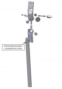 Senkkopfschraube zur Verlängerungsschiene für das Salera 3-D Hüftgelenk